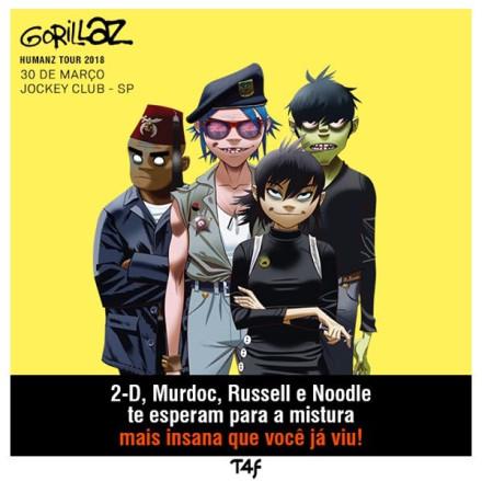 Gorillaz vem ao Brasil pela primeira vez em março com a Humanz Tour